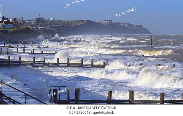 Walcott beach towards Mundsley on the Norfolk coast in stormy weather