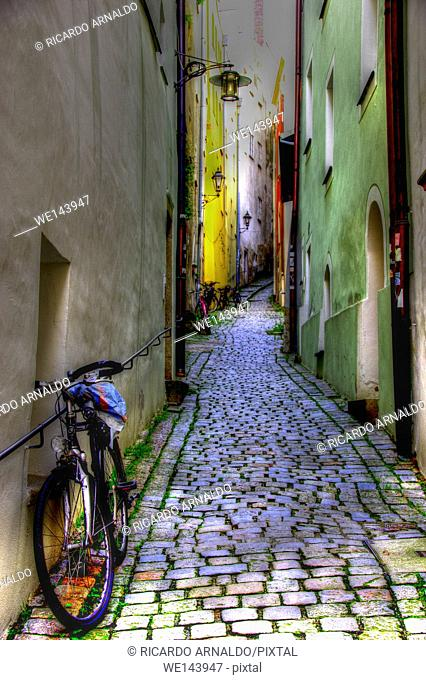 Passau alley and cobble stones, Germany