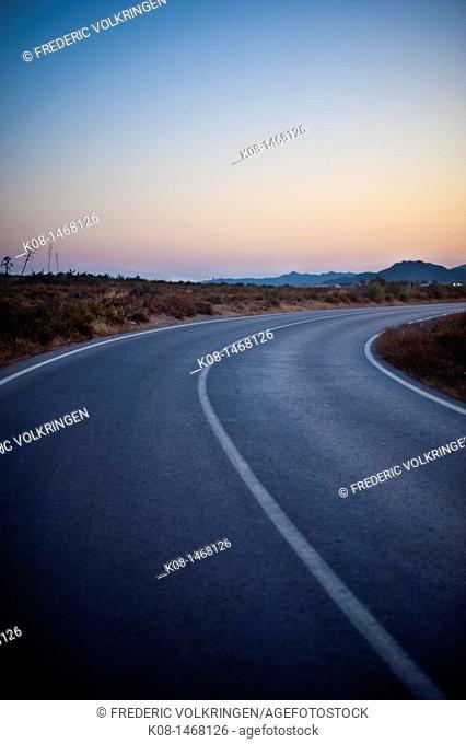 road, sunset, traffic, white line, asphalt, turning, Spain