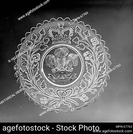 Plate. Date: 1842-45; Geography: Possibly made in England; Possibly made in United States; Culture: American or British; Medium: Lacy pressed glass; Dimensions:...