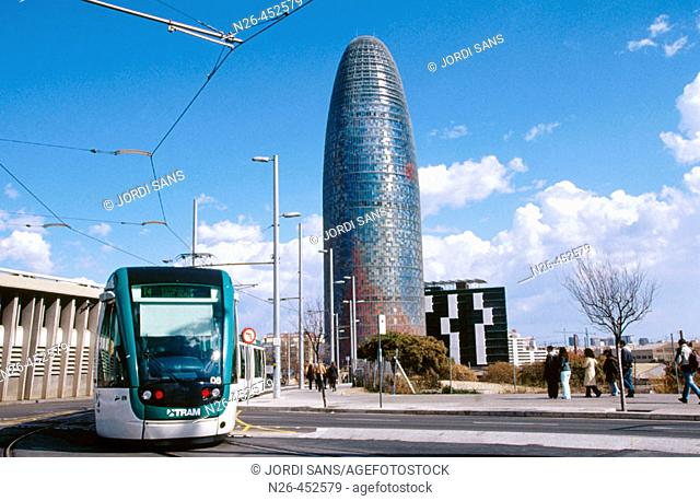 Tram and Agbar Tower in Glòries Square, Barcelona. Catalonia, Spain