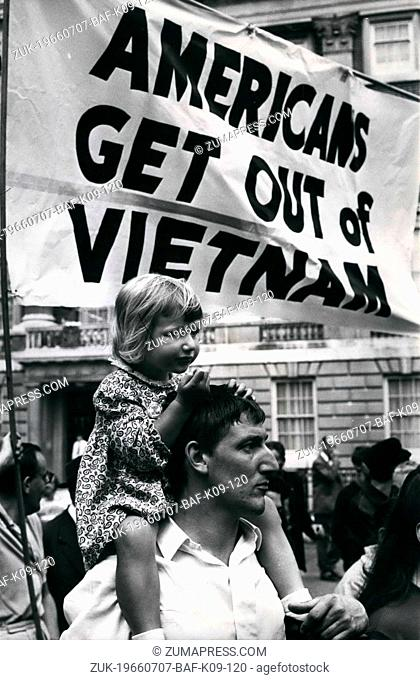 Jul. 07, 1966 - Demonstration At American Embassy: Nearly 1,000 Anti-Vietnam demonstrators marched to the American Embassy in Grosvenor Square, London
