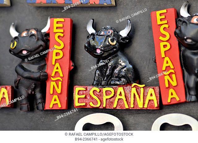 Fridge magnets, souvenirs of Spain. Barcelona, Catalonia, Spain