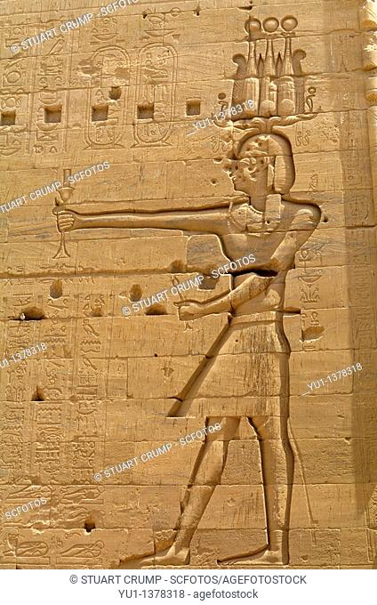 Relief carvings at Philae Temple, Aswan, Egypt, North Africa