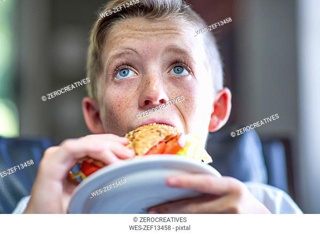 Boy eating sandwhich