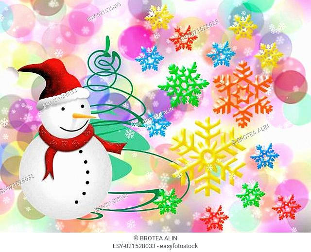 Christmas card with snowman and colored snowflakes on the happy bokeh background
