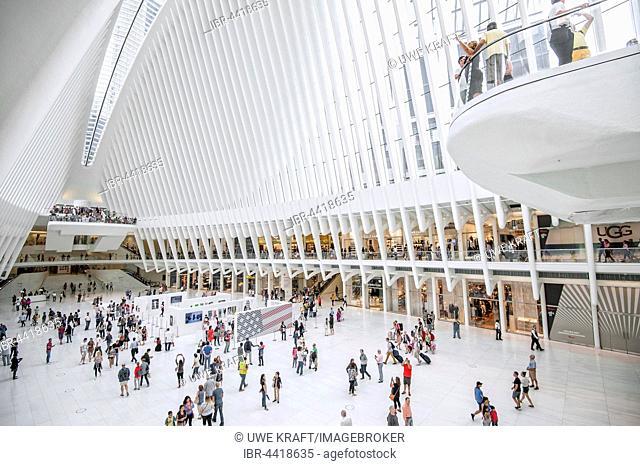 Oculus, subway station main hall with shopping centre, World Trade Center Transportation Hub, architect Santiago Calatrava, Ground Zero, Manhattan, New York