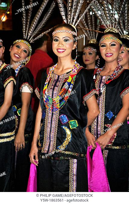 Sarawak dancers ready to perform at Chinese New Year in Malaysia