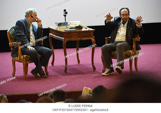 British biologist Richard Dawkins (left) and American theoretical physicist and cosmologist Lawrence M. Krauss speak within the Origins Dialogue project during...
