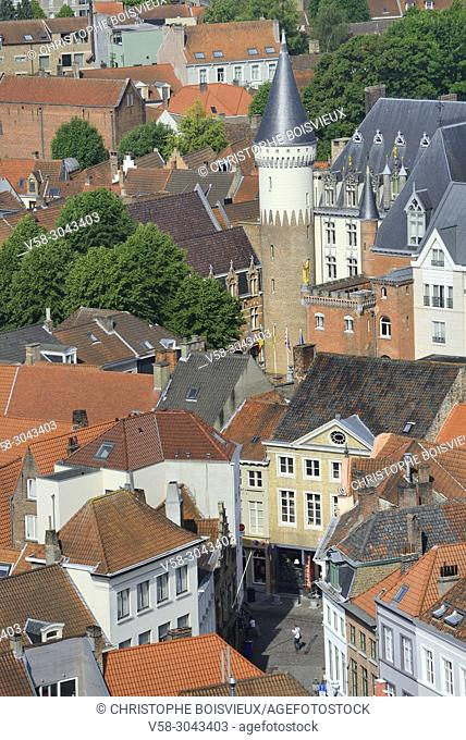 Belgium, Bruges, World Heritage Site, City view from the belfry's top