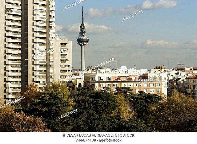 Torrespaña TV tower, Torre de Valencia and Retiro park, Madrid, Spain