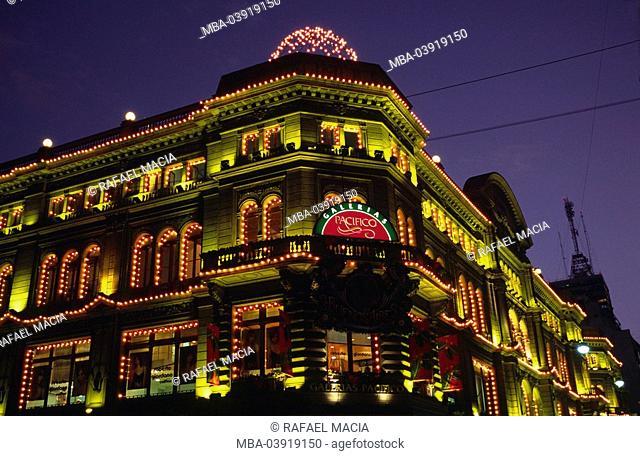 Argentina, Buenos Aires, Galerias Pacifico, shopping center, facade, detail, illumination, evening, South America, city, sight, buildings, construction