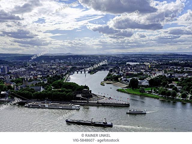 DEU , GERMANY : Deutsches Eck / German Corner in Koblenz with the confluence of Rhine (in front) and Mosel rivers , 04.08