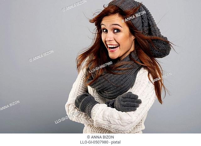 Portrait of happy woman wearing fashion winter clothes, Debica, Poland