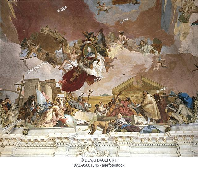 Germany - Wurzburg Residence - (UNESCO World Heritage List, 1981). Fresco by Giambattista Tiepolo on the ceiling of the entrance staircase (Treppenhaus)...