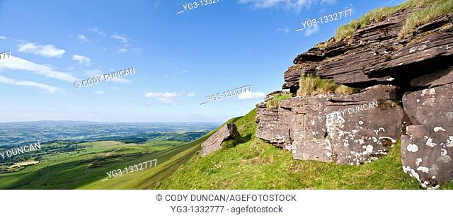 Rock outcropping near summit on Hay Bluff, Brecon Beacons national park, Wales