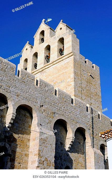 Steeple of the church of Saintes-Maries-de-la-Mer where the crypt contains the satue of Saint Sara patron saint of the Gypsies