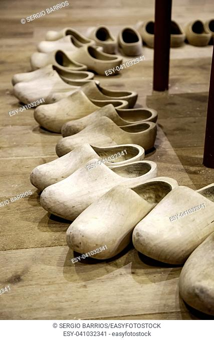 Dutch wooden clogs, shoe making detail, tradition of the Netherlands