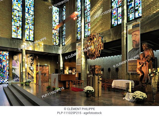 The church of the Congregation of Sacred Hearts, Leuven, Belgium with grave in crypt of Father Damien / Saint Damien of Molokai / Jozef De Veuster