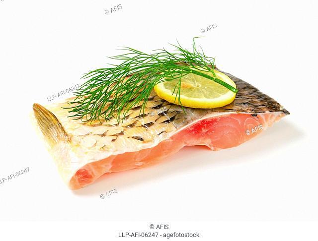 Raw carp fillet
