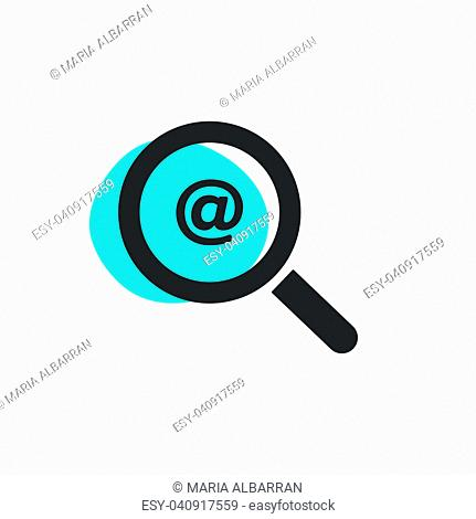 Magnifying glass looking for a mail isolated web icon. Vector illustration