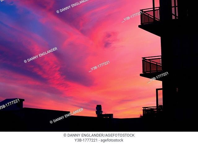 San Diego urban building silhouette at sunset