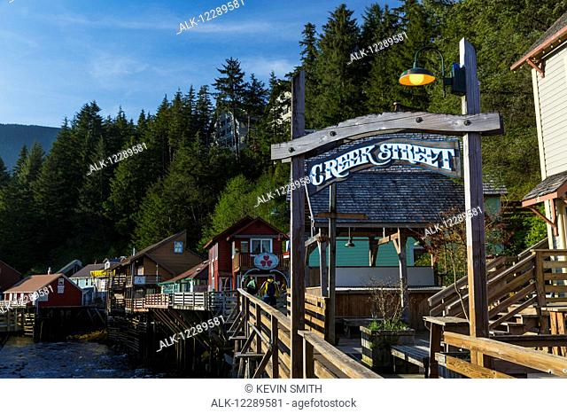 The Creek Street sign and boardwalk, downtown Ketchikan, Southeast Alaska, USA, Spring