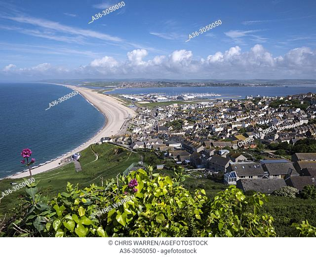 Chesil Beach from above Portland Dorset England