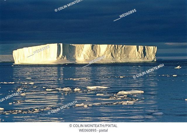 Tabular iceberg at sunset, Antarctic Sound, Weddell Sea. Antarctica