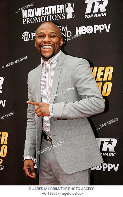 Boxer Floyd Mayweather Jr arrives for his press conference vs Manny Pacquiao on March 11th, 2015 in Los Angeles, California for their May 2nd