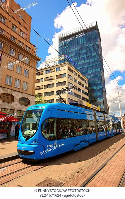 Modern tram in the Square of Ban Josip Jelacic, Zagreb, Croatia