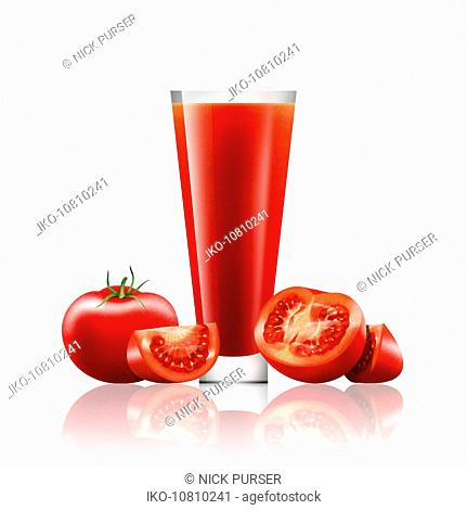 Fresh tomatoes and glass of tomato juice