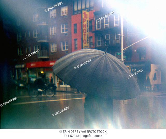 This was taken in a rain storm in Manhattan at the corner of 7th Ave and 22nd Street in Chelsea. NYC. USA