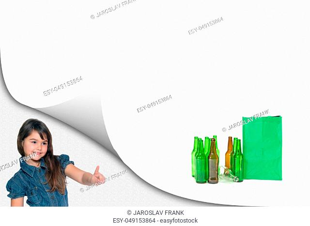 Little girl is showing a pile of sorted glass waste with ready empty bag on the white background ready for your text. All potential trademarks are removed