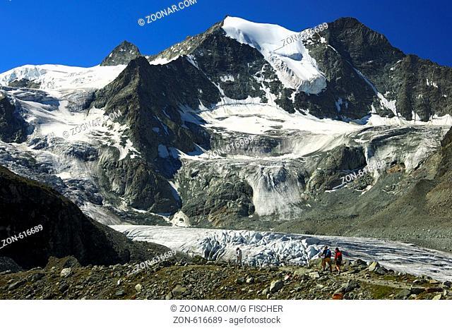 Kessel des Moiry-Gletscher und die Gipfel der Pointes de Mourti, Walliser Alpen, Schweiz / Moiry glacier cirque and Mt. Pointes de Mourti, Pennine Alps