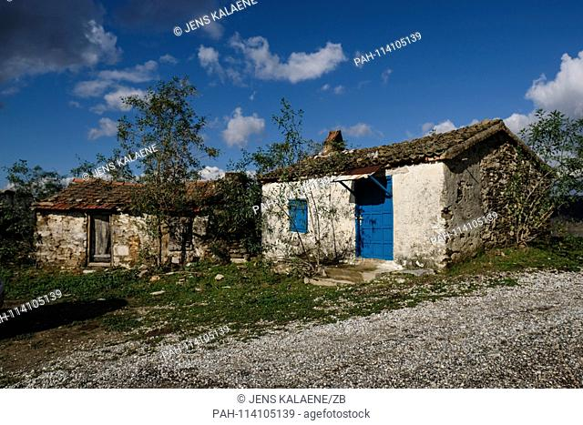 12.12.2018, Turkey, Didim: The winter village with partly ruined houses on the shore of Lake Bafase. Originally the village was used in winter by the rural...