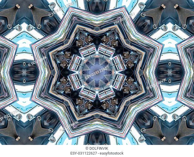 Abstract grey pattern texture, kaleidoscope seamless background