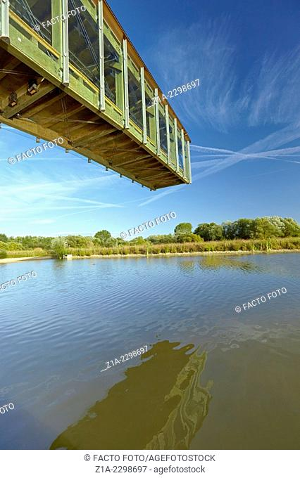 Cantilevered observation deck at the Ataria Interpretation Centre, Salburua wetlands park. Vitoria-Gasteiz. Alava province. Basque Country. Spain