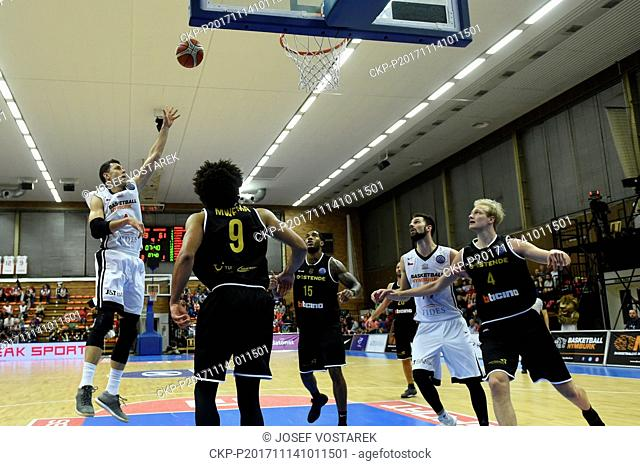 L-R Petr Benda of Nymburk, Jean-Marc Mwema and Mike Myers of Ostende, Vojtech Hruban of Nymburk and Tim Lambrecht of Ostende in action during the European Men's...