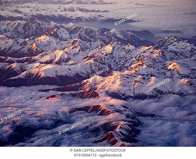Aerial view of Alps at Sunset