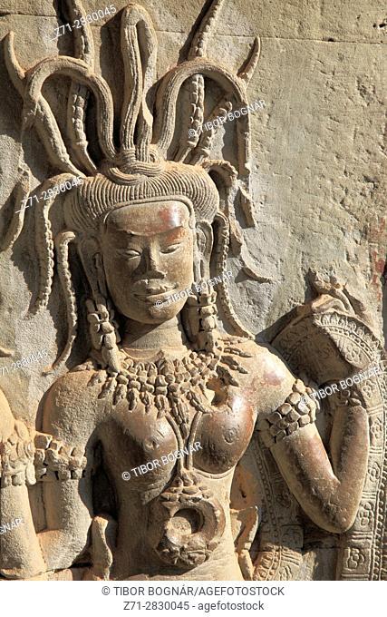 Cambodia, Angkor, Angkor Wat, bas-relief, Apsara figures,