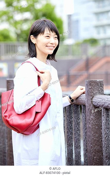 Japanese woman downtown Tokyo