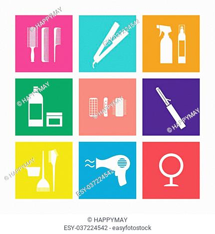Flat Design Hairdressing Icons Set 9