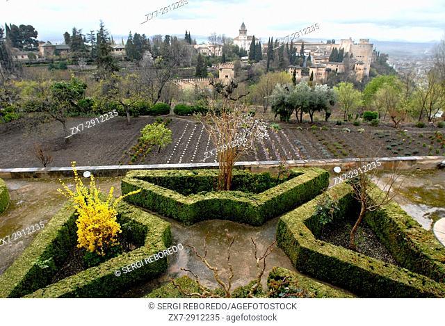 Gardens at the Moorish palace Alhambra Granada Andalucia Spain