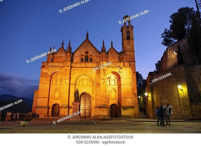 Real Colegiata church Santa María la Mayor at dusk. Old town monumental city of Antequera, Malaga province. Andalusia, Southern Spain. Europe