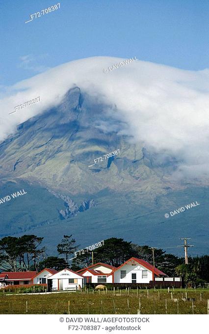 Puniho Marae and Mt Taranaki / Egmont, Taranaki, North Island, New Zealand