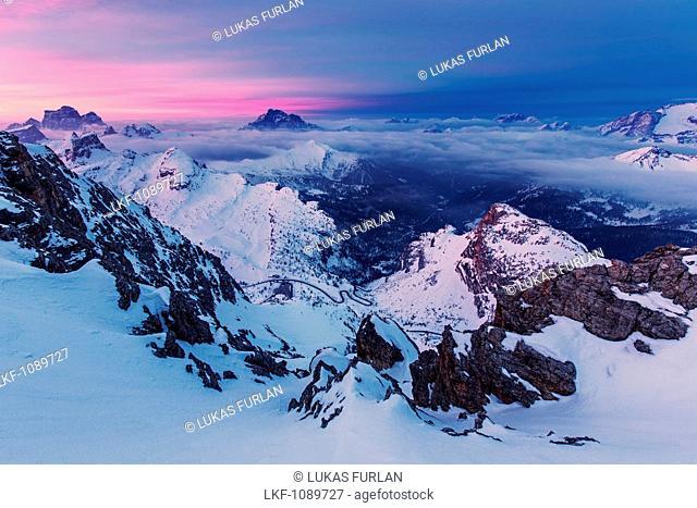 View from top of the Lagazuoi, near the Refugio Lagazuoi mountain hut, located in the area of the Falzarego mountain pass, Bellunesi Dolomites