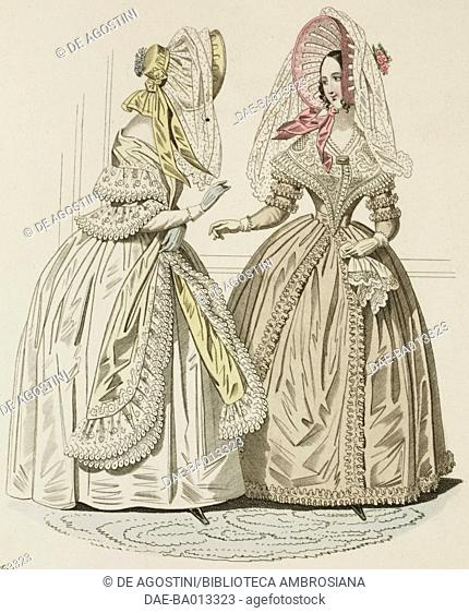 Female sketches in white lace dress and beige dress with hat, plate 21 taken from Parisian Fashion, Il Corriere delle Dame (Ladies' Courier), 5th April 1837