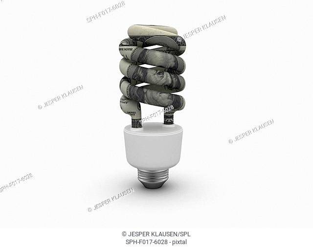 Energy saving lightbulb with US dollar