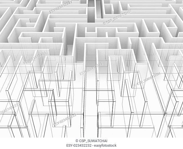 endless maze 3d wire frame